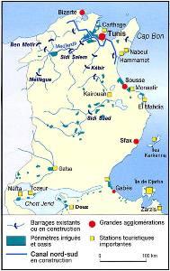 Carte des ressources en eau de la Tunisie, Manuel d'Histoire-Géographie Nathan, 1997.