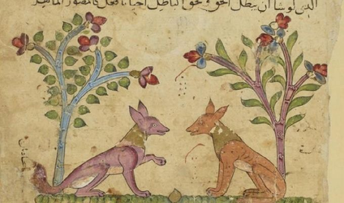 Ibn al-Muqaffa, Kalila wa Dimna, Égypte ou Syrie, XIVe siècle : Les chacals Kalila et Dimna en train de converser © BNF