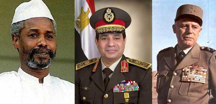 À gauche : L'ex-dictateur Hissène Habré a été président de la République du Tchad, de 1982 à 1990, à la suite d'un coup d'État ayant renversé Goukouni Oueddei. Accusé de crimes contre l'humanité, de crimes de guerre et de torture, il comparaît devant la justice internationale depuis le 20 juillet 2015. Au centre : Le maréchal Abdel Fattah al-Sissi préside la République arabe d'Égypte depuis 2014 à la suite du coup d'État ayant renversé Mohamed Morsi. À droite : Pendant la guerre d'Algérie, le général Raoul Salan (1899-1984), chef de l'Organisation armée secrète (OAS), a participé au Comité de salut public d'Alger en 1958 puis au putsch des généraux en 1961. Condamné à la prison à perpétuité, il a été amnistié en 1968.