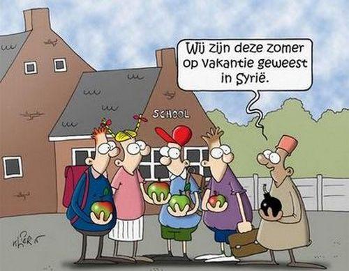 """Un dessin islamophobe paru dans """"De Gazet Van Antwerpen"""", en Belgique, a été dénoncé en cette rentrée scolaire. Il montre un enfant de retour de """"vacances"""" en Syrie avec une bombe en main dans la cour de récré auprès de ses camarades."""