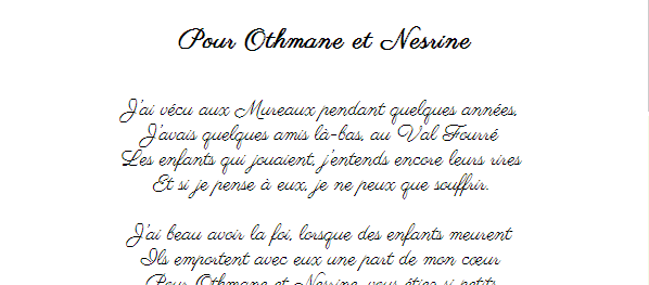 Pour Othmane et Nesrine