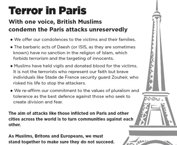 La tribune contre le terrorisme au Conseil musulman de Grande-Bretagne (MCB) au Daily Telegraph.