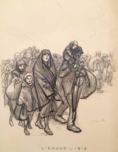 """La gravure de Théophile Alexandre Steinlein, intitulée """"L'exode - 1915"""" est d'une étonnante actualité, l'Europe faisant actuellement face à l'une des plus graves crises migratoires depuis la Seconde Guerre mondiale."""