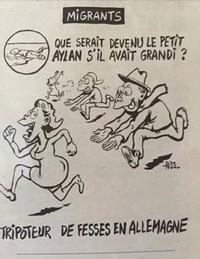 Le dessinateur Riss de Charlie Hebdo a fait publier, mercredi 13 janvier, ce dessin scandaleux peignant le défunt Aylan en « tripoteur de fesses ».