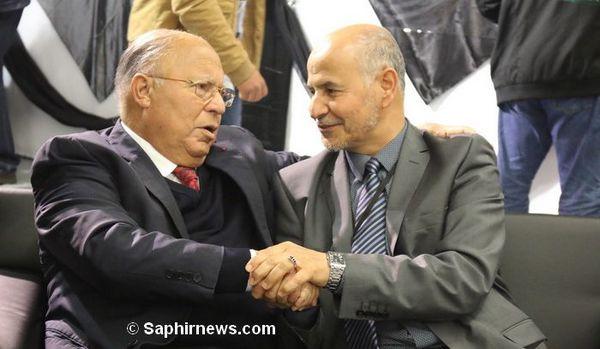 Le recteur de la Grande Mosquée de Paris Dalil Boubakeur aux côtés d'Amar Lasfar, président de l'UOIF.
