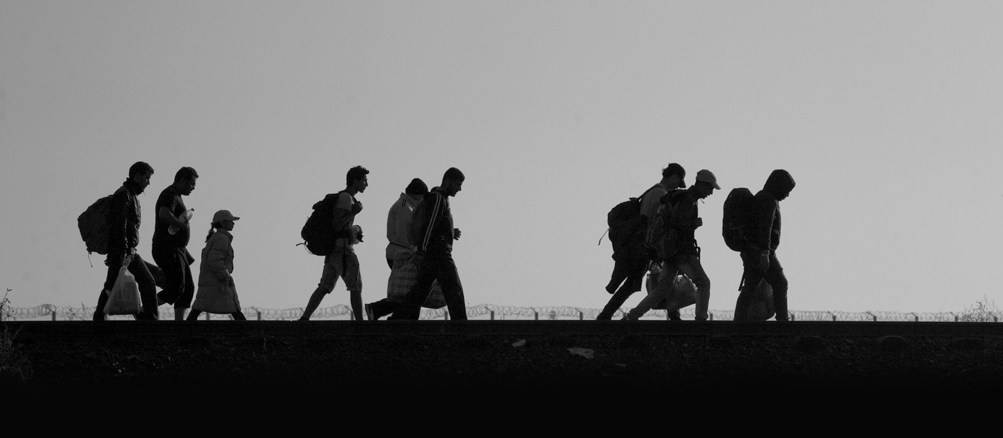 Réfugiés et migrants traversant la frontière serbo-hongroise © Hollandse Hoogte/Warren Richardson