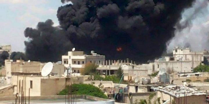 Manbij après une frappe de la coalition anti Etat islamique, le 22 juin 2016.