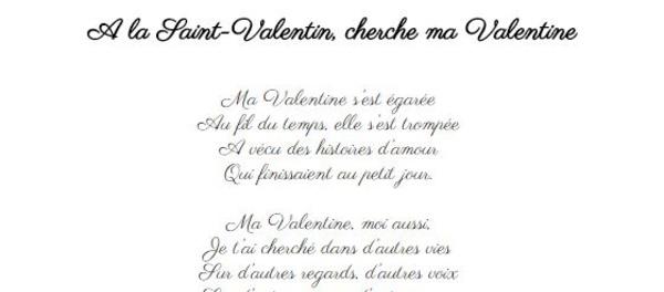 A la Saint-Valentin, cherche ma Valentine