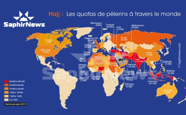 Hajj 2017 : combien de pèlerins par pays vont à La Mecque ? Voici la carte mondiale des quotas