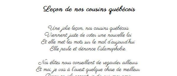 Leçon de nos cousins québécois