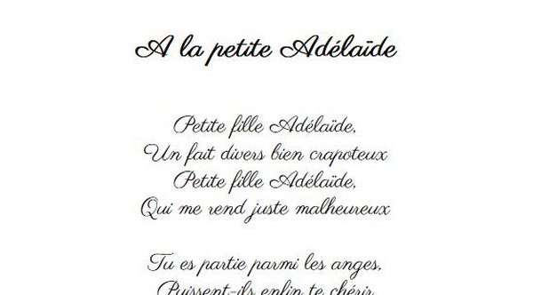 A la petite Adélaïde