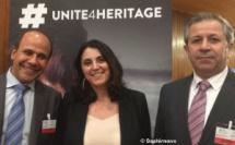 (de g. à dr.) Assaad Seif, archéologue, conseiller du ministre de la Culture du Liban ; Nada al-Hassan, chef de l'Unité des États arabes, au Comité du patrimoine mondial à l'Unesco ; Maamoun Abdulkarim, directeur général des Antiquités et des Musées de Syrie.